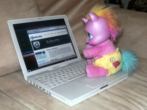 Pink unicorn pony using Kubuntu
